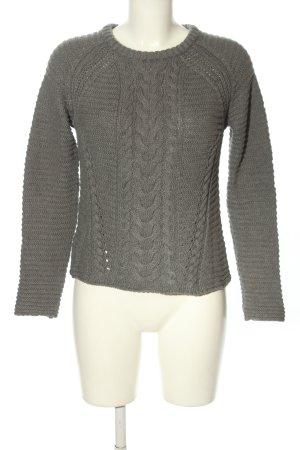 Mango Warkoczowy sweter jasnoszary Warkoczowy wzór W stylu casual