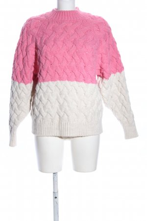 Mango Cable Sweater natural white-pink cable stitch casual look