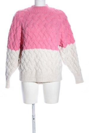Mango Maglione intrecciato bianco sporco-rosa punto treccia stile casual