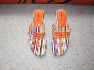 T-Strap Sandals orange imitation leather