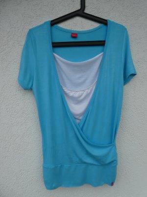 Mangoon – Shirt, hellblau mit weißem Innentop – Gebraucht, fast wie neu