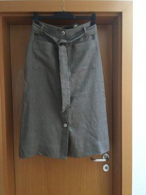 Mango Spódnica midi taupe Bawełna