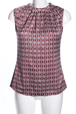 Manguun ärmellose Bluse rot-hellgrau abstraktes Muster Business-Look