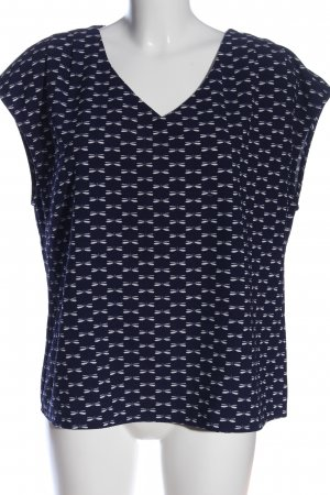 Manguun ärmellose Bluse blau-weiß Allover-Druck Casual-Look