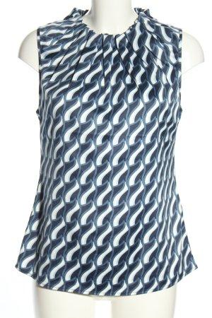 Manguun Blusentop blau-weiß abstraktes Muster Casual-Look