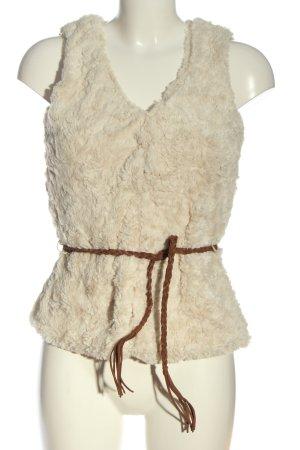 Manguun Fake Fur Vest cream casual look