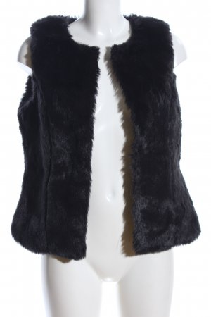 Manguun Fake Fur Vest black casual look