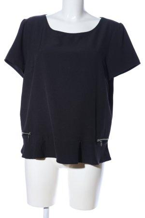 Manguun Kurzarm-Bluse schwarz Casual-Look