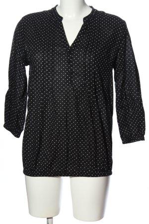 Manguun Langarm-Bluse schwarz-weiß Allover-Druck Business-Look