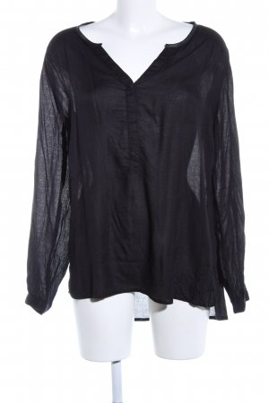Manguun Langarm-Bluse schwarz Casual-Look
