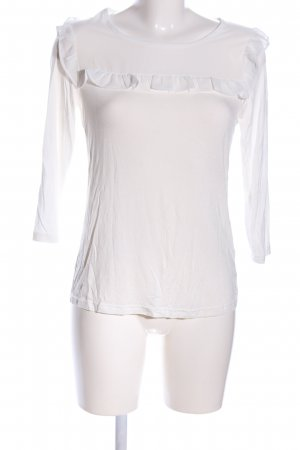 Manguun Langarm-Bluse weiß Casual-Look
