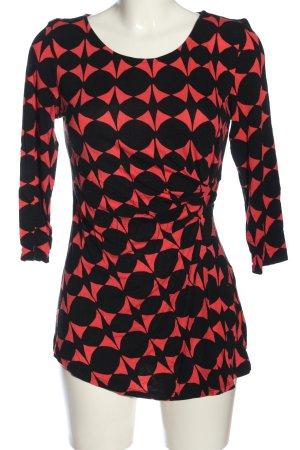 Manguun Longsleeve rot-schwarz abstraktes Muster Casual-Look