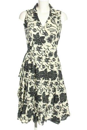 Manguun Midikleid weiß-schwarz abstraktes Muster Casual-Look
