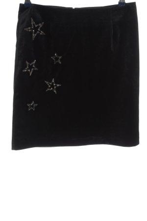 Manguun Minirock schwarz-silberfarben Motivdruck Casual-Look