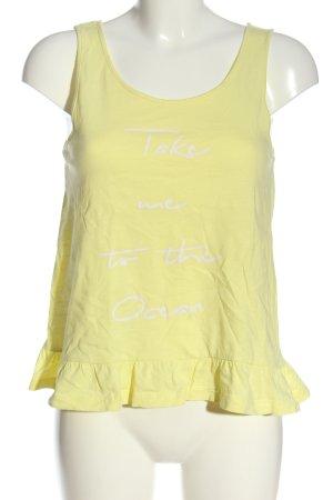 Manguun T-shirt imprimé jaune primevère lettrage imprimé style décontracté