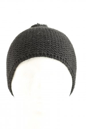 Manguun Bobble Hat black cable stitch casual look