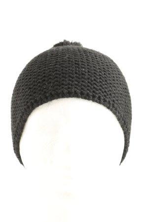 Manguun Cappello con pon pon nero punto treccia stile casual