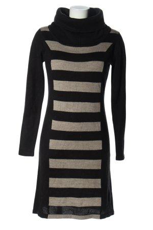 Manguun Pulloverkleid schwarz-hellgrau Streifenmuster Casual-Look