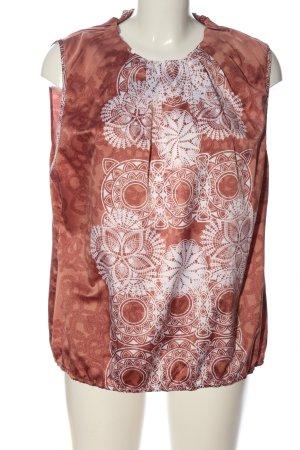 Manguun Schlupf-Bluse braun-weiß abstraktes Muster Casual-Look