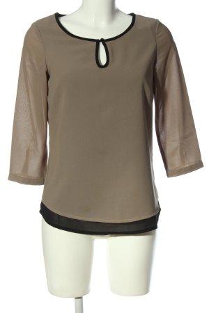 Manguun Schlupf-Bluse khaki-schwarz Casual-Look