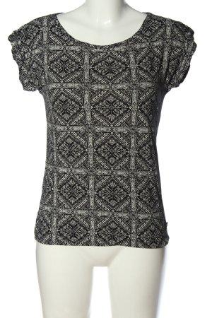 Manguun Strickshirt schwarz-weiß abstraktes Muster Casual-Look