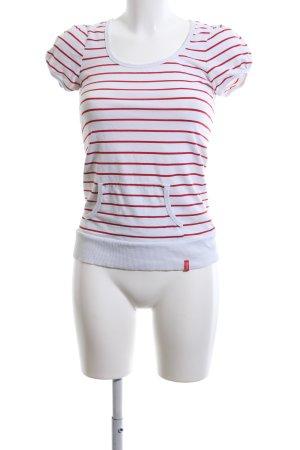 Manguun T-Shirt weiß-rot Streifenmuster Casual-Look