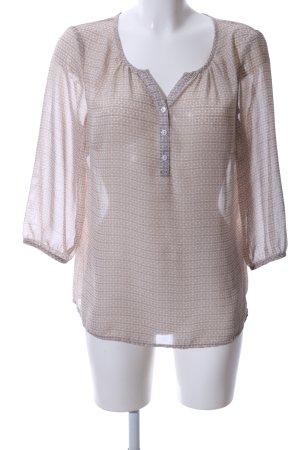 Manguun Transparenz-Bluse braun-wollweiß Allover-Druck Business-Look