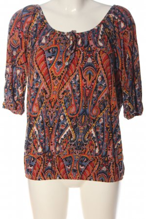 Manguun Boatneck Shirt red-blue abstract pattern casual look