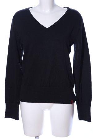 Manguun V-Ausschnitt-Pullover schwarz Business-Look
