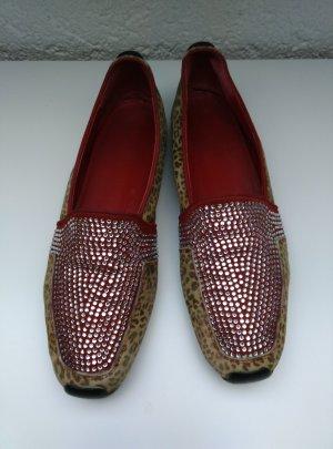 MANIA Leder Slipper Loafer Gr.40 Swarowski Rot Beige Leopard Ballerina