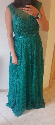 maniju Abendkleid Spitze grün Smaragd 36