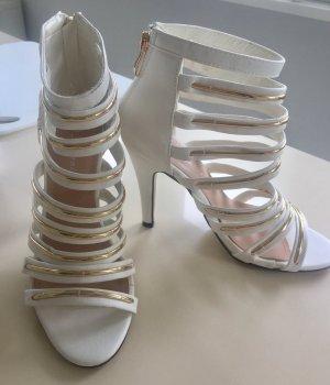 Mannika Pumps High Heels weiß-gold 37 NEU!!!