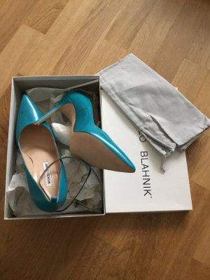 Manolo Blahnik Pumps teal blue **NEU*****BB Strap
