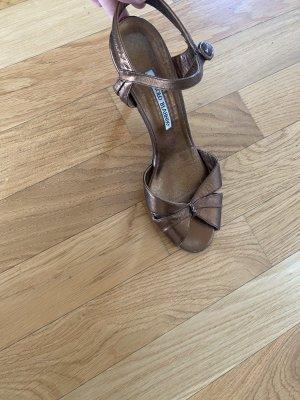 Manolo Blahnik Sandalen met bandjes en hoge hakken veelkleurig Leer