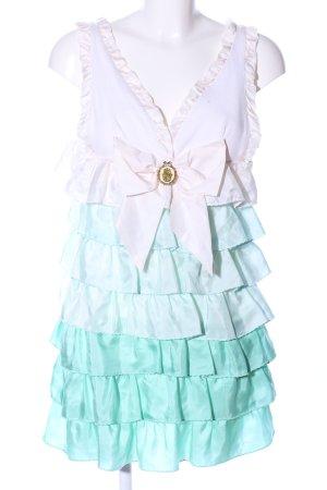 Manoush Vestido estilo flounce blanco-turquesa estilo fiesta