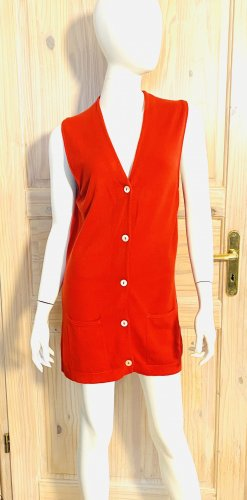 Manrico Cashmere Long Knitted Vest red cashmere