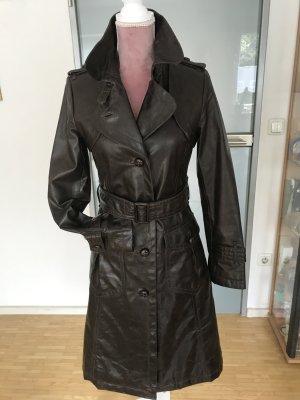 Hallhuber Manteau en cuir brun foncé cuir