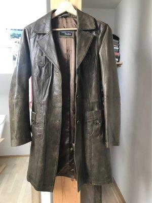 Heine Manteau en cuir taupe cuir