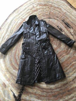 Hallhuber Skórzany płaszcz ciemnobrązowy Skóra
