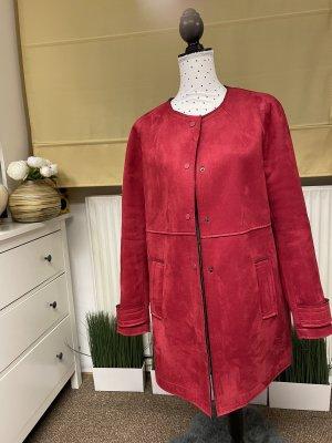 Zara Heavy Pea Coat dark red