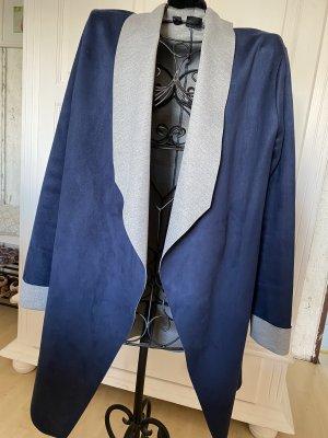 Bon Prix Płaszcz przejściowy ciemnoniebieski-jasnoszary