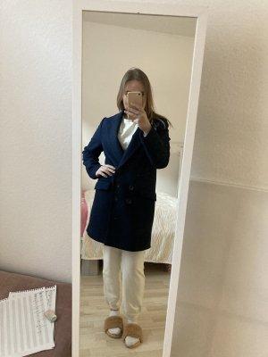 Zara Płaszcz oversize niebieski-ciemnoniebieski