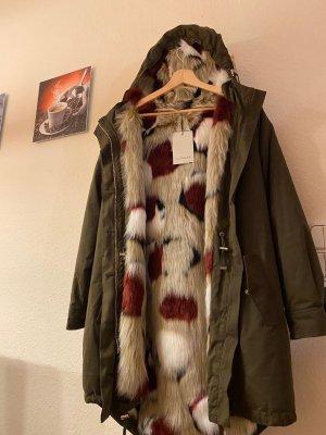 miralba Cappotto con cappuccio multicolore Tessuto misto