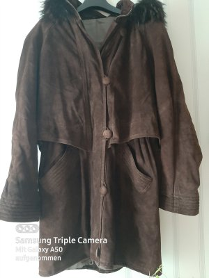 100% Fashion Coat Dress dark brown-cognac-coloured