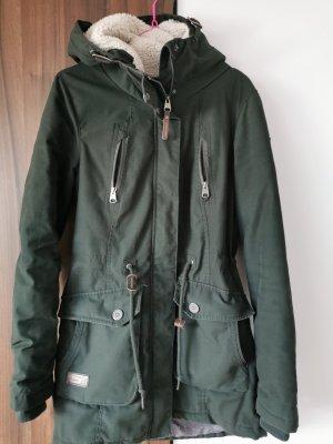 Manteau à capuche kaki polyester