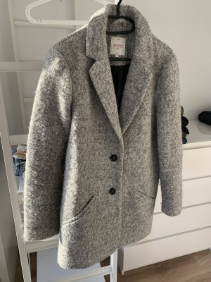 C&A Clockhouse Pluszowy płaszcz jasnoszary-czarny