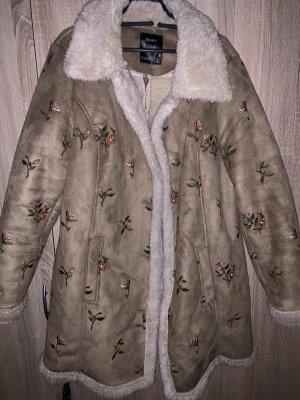 C&A Płaszcz ze sztucznym futrem brązowy-kremowy