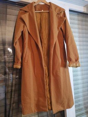 Manteau en fausse fourrure brun-orange foncé