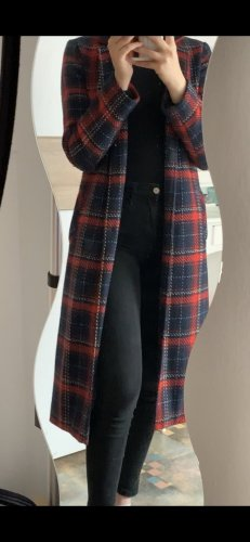 Primark Abrigo de lana azul oscuro-rojo amarronado