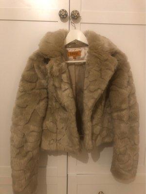 Different Płaszcz ze sztucznym futrem beżowy-jasnobeżowy